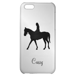 Girl on Horse Silver Cover For iPhone 5C