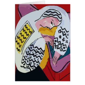 Girl on Tablet AbstracT, mATISSE sTYLE Card