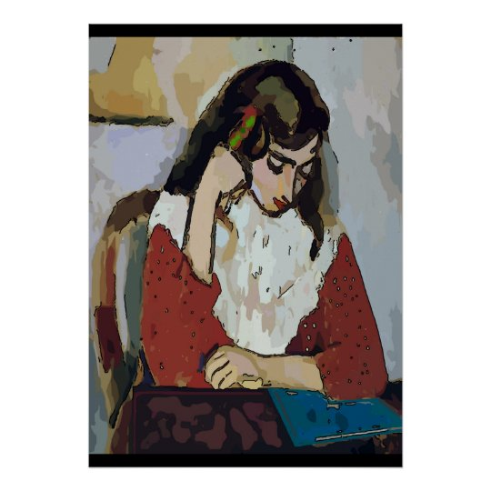 Girl on Tablet Abstract Matisse Style Poster