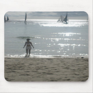 Girl on the beach mouse pad