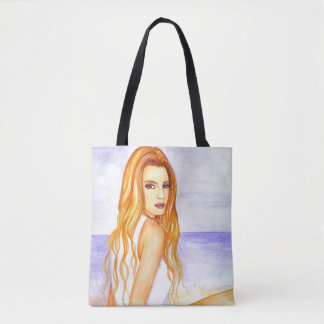 Girl on the beach watercolor painting tote bag