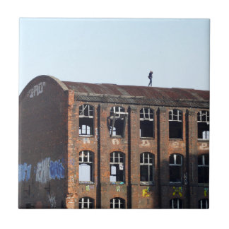 Girl on the Roof - Lost Places Ceramic Tile