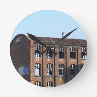 Girl on the Roof - Lost Places Round Clock