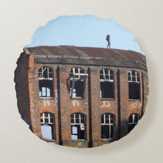 Girl on the Roof - Lost Places Round Cushion