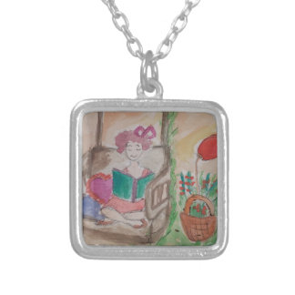 girl on the swing reading book silver plated necklace