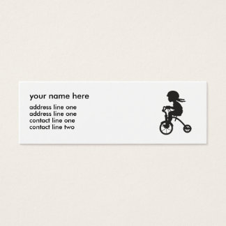 Girl on Tricycle silhouette Mini Business Card