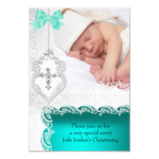 Girl or Boy Baptism Jade Teal White Lace Photo 9 Cm X 13 Cm Invitation Card