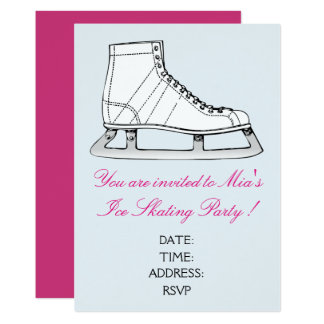 Girl or teen Ice Skating party Card