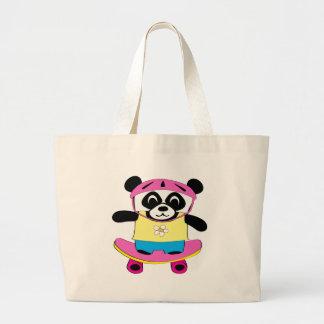 Girl Panda on Skateboard Tote Bag