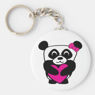 Girl Panda with Big Pink Heart Key Ring