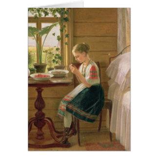 Girl Peeling Berries, 1880 Greeting Card