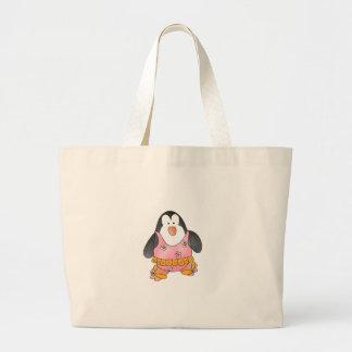 Girl Penguin at Beach Large Tote Bag