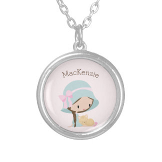 Girl personalized Silver Plated Round Necklace