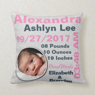 Girl Photo Photograph Personalized Birth Stats Cushion
