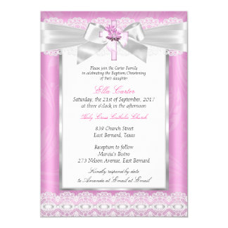 Girl Photo Pink Floral Cross Baptism Christening Card