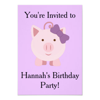 Girl Pig Party Invitation