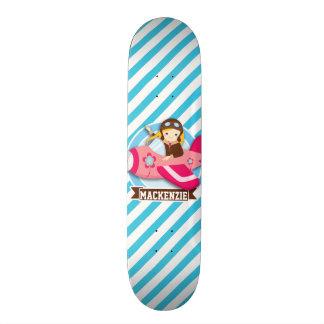 Girl Pilot in Pink Airplane; Blue & White Stripes Skate Decks