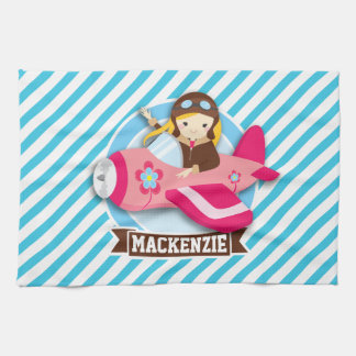 Girl Pilot in Pink Airplane; Blue & White Stripes Hand Towel