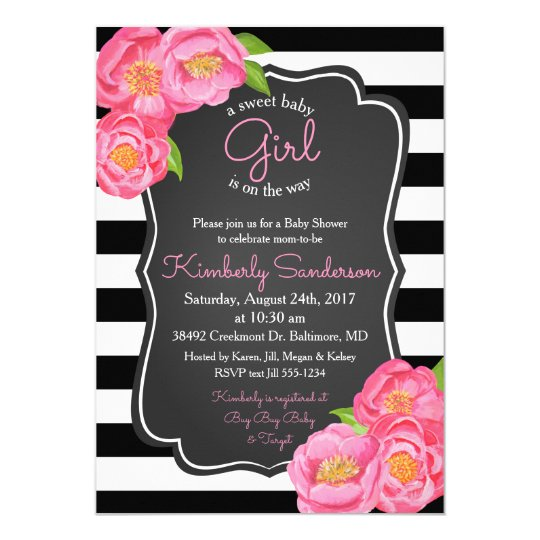 Girl Pink and Chalkboard Baby Shower Invitation