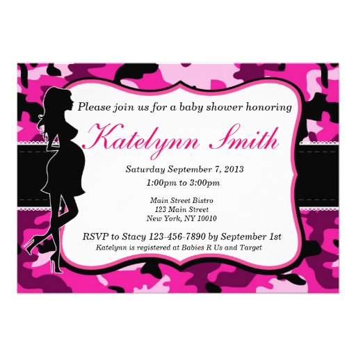 girl pink camouflage baby shower invitation 5 x 7 invitation card