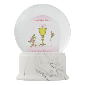 Girl Pink First Holy Communion, Chalice, Host, Ros Snow Globes