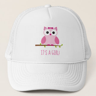 Girl Pink Owl Gender Reveal Baby Shower Trucker Hat