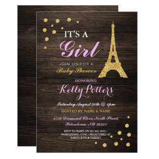 Girl Pink Paris Gold Baby Shower Wood Invite