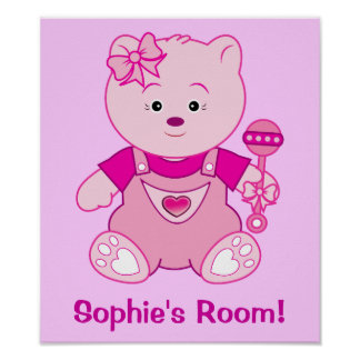 Girl Pink Teddy Bear with Bow Name Customizable Posters