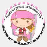Girl Pirate Birthday Thank You Round Sticker