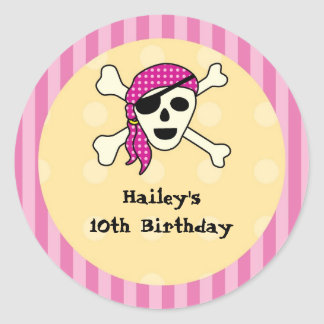 Girl Pirate Favor Seal Sticker