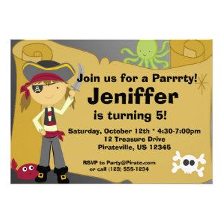 Girl Pirate Treasure Map Birthday Party Invitation