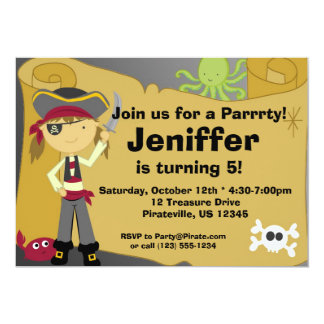 "Girl Pirate Treasure Map Birthday Party Invitation 5"" X 7"" Invitation Card"