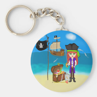 Girl Pirate with Treasure Chest Keychain