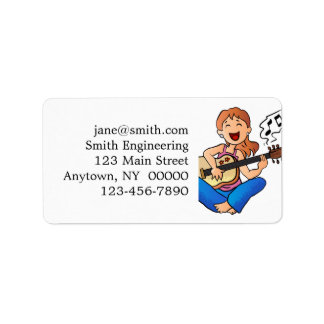 girl playing guitar address label