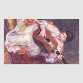 Girl Playing Guitar by Pierre Renoir Rectangle Stickers