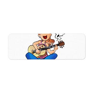 girl playing guitar return address label