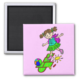 Girl Playing Hopscotch 2 Square Magnet