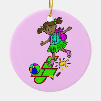 Girl Playing Hopscotch Ceramic Ornament
