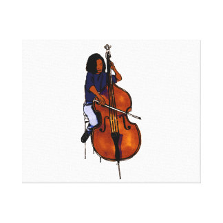 Girl playing orchestra bass blue shirt dark canvas print