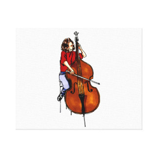 Girl playing orchestra bass red shirt stretched canvas print