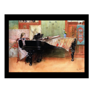 Girl Playing Piano Postcard