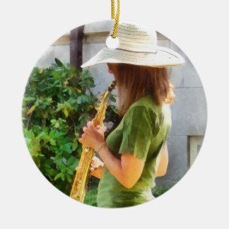 Girl Playing Saxophone Ceramic Ornament