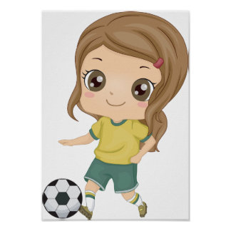 Girl Playing Soccer Poster