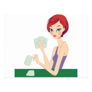 Girl playing Texas Holdem Postcard