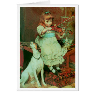 Girl playing the violin card