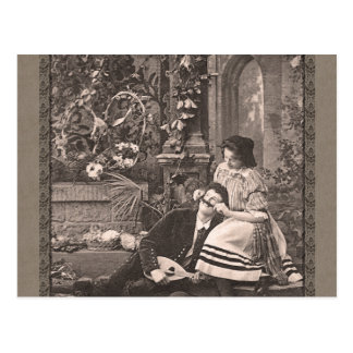 Girl Playing with Man s Moustache Funny Vintage Post Cards