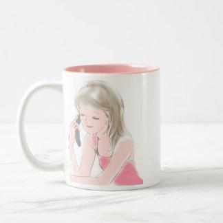 girl portable telephone Two-Tone coffee mug