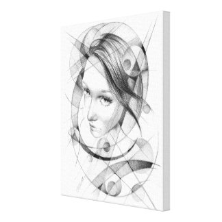 Girl portrait drawing with circles and lines canvas print