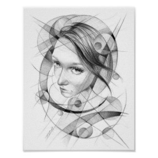 Girl portrait drawing with circles and lines poster