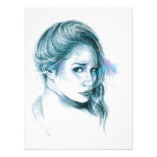 Girl portrait pencil art in blue Photo print